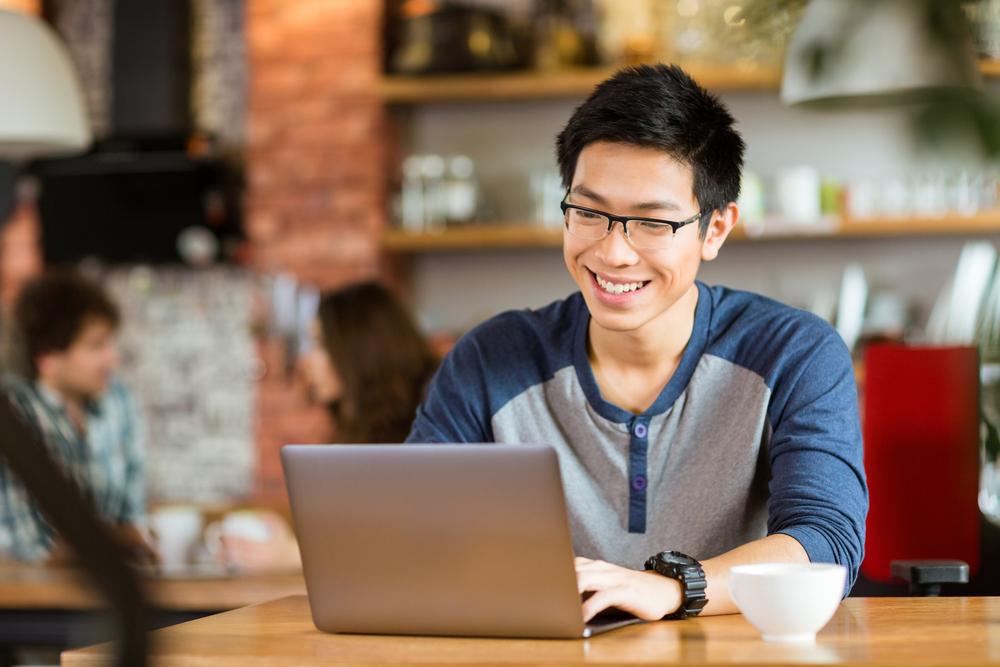Man enjoying writing